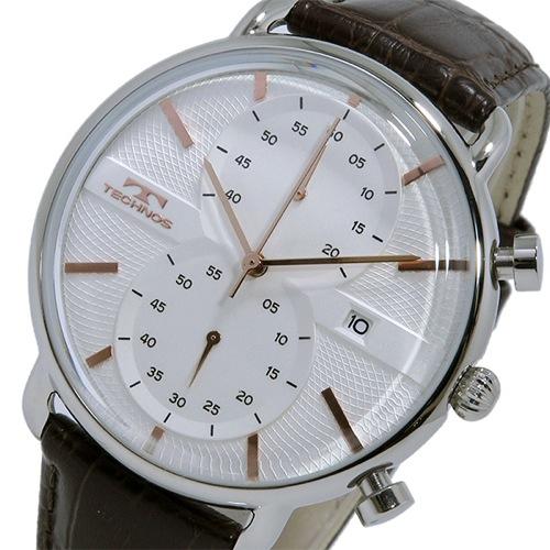 テクノス TECHNOS クオーツ クロノ メンズ 腕時計 T6397SA ホワイト/ピンクゴールド