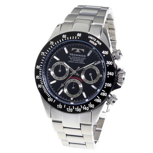 テクノス TECHNOS クロノ クオーツ メンズ 腕時計 TSM401TB ブラック