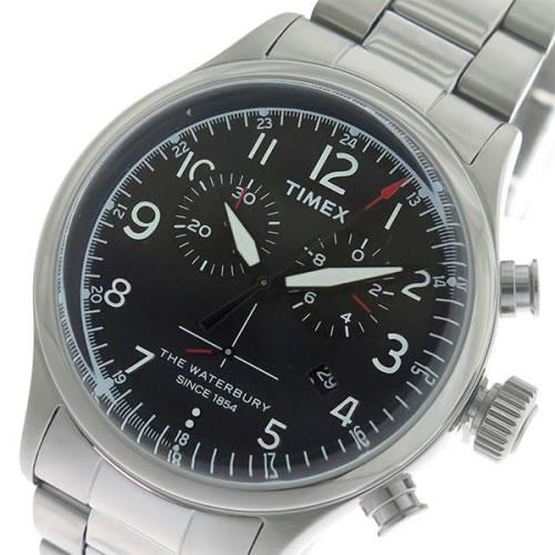 タイメックス Waterbury クロノ クオーツ メンズ 腕時計 TW2R38400 ブラック/シルバー></a><p class=blog_products_name