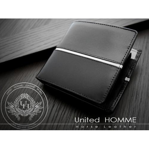 ユナイテッド オム United HOMME 二つ折り短財布 UH-1073-WH ブラック×ホワイト
