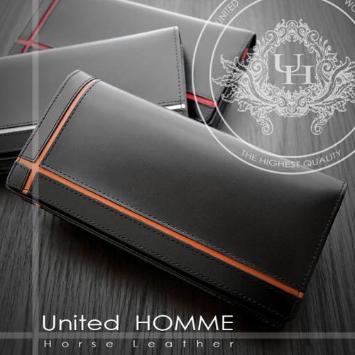 ユナイテッドオム United HOMME ホースハイド×クロスライン 長財布 UH-1074OR オレンジ