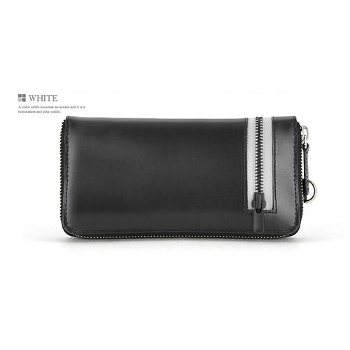 ユナイテッドオム 馬革×牛革カラージップテープ ラウンド 長財布 UH-1593WH ホワイト
