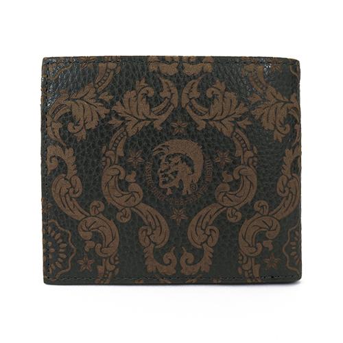 ディーゼル DIESEL 二つ折り 短財布 X02248-P0180-H8013 ブラック×ブラウン