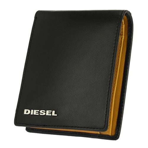 ディーゼル DIESEL メンズ 二つ折り短財布 X03362PR378-H5693 ブラック×イエロー